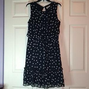 Dress Barn blue polka dot dress